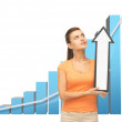 Woman with rising graph and arrow directing up — Stock Photo #28818631