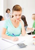 Studentka s poznámkový blok a kalkulačka — Stock fotografie