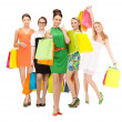 Attractive girls holding color shopping bags — ストック写真