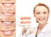 Doctor con mandíbulas y sonrisas — Foto de Stock
