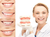 Doctor with jaws and smiles — Stock Photo