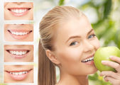 Female with apple and smiles — Stock Photo
