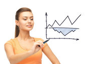 Businesswoman drawing graph in the air — Stock Photo