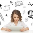 Student girl playing with tablet pc — Stock Photo #29557791