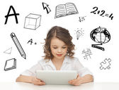Student girl playing with tablet pc — Stock Photo