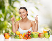 Woman with fruits and vegetables — Stock Photo