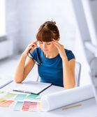 Stressed interior designer — Stock Photo