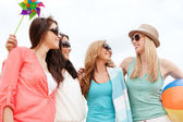 Girls having fun on the beach — Stock Photo