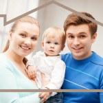 Семья с ребенка и мечта дом — Стоковое фото