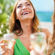 Girl with champagne glass — Stock Photo