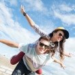 Teenagers having fun outside — Stock Photo
