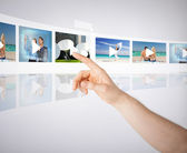 Man with virtual screen — Stock Photo