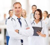 Two doctors in hospital — Stock Photo