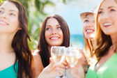 Girls with champagne glasses — Stock Photo
