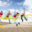 Group of teenagers jumping — Stock Photo #30592931