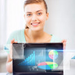 Businesswoman showing laptop with graph — Stock Photo