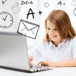 Girl with laptop pc at school — Stock Photo #30594959