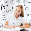 Stock Photo: Student girl studying at school