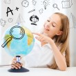 Stock Photo: Student girl with globe at school