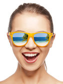 Amazed girl in shades — Stock Photo