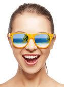 Amazed girl in shades — Stock Photo