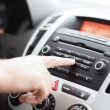 Man using car audio stereo system — Foto de Stock