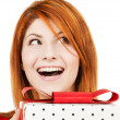 Happy woman with gift box — Stock Photo #31318709