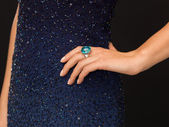 Beautiful woman with cocktail ring — Stock Photo