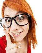 Woman in glasses with finger up — Stock Photo