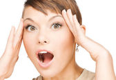 Excited face of woman — Stock Photo