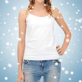 Woman in blank white tank top — Stock Photo