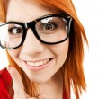 Woman in glasses with finger up — Stock Photo #31575973