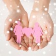 Woman hands with paper women — Stock Photo #31708337