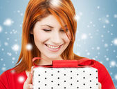 Happy woman with gift box — Foto de Stock
