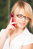 Teenage girl with cell phone calling — Stock Photo