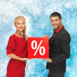 Man and woman with percent sign — Foto de Stock