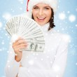 Woman in santa helper hat with us dollar money — Stock Photo #32144425