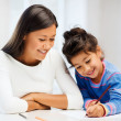 Mother and daughter drawing — Foto Stock