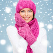 Woman in hat, muffler and mittens — Stock Photo #32434949
