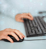 Woman hands with keyboard and mouse — Stock Photo