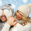 Family couple in a winter clothes — Stockfoto