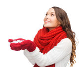 Woman with big snowflake — Stock Photo