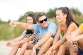 Grupo de amigos apontando em algum lugar na praia — Fotografia Stock