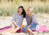 Beautiful teenage girls or young women having fun — Stock Photo