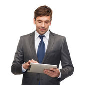 Buisnessman with tablet pc — Stock Photo