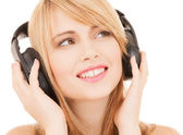 Happy girl with headphones — Stock Photo