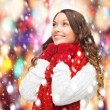 Woman in sweater, scarf and mittens — Stock Photo