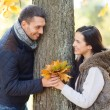 Romantic couple playing in the autumn park — Stock fotografie