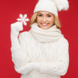 Womwith big snowflake — Stock Photo #33926915