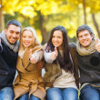 Group of friends having fun in autumn park — Stockfoto